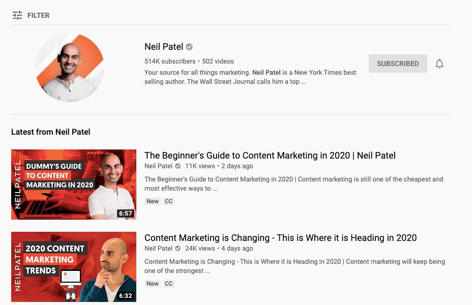 Neil Patel YouTube channel