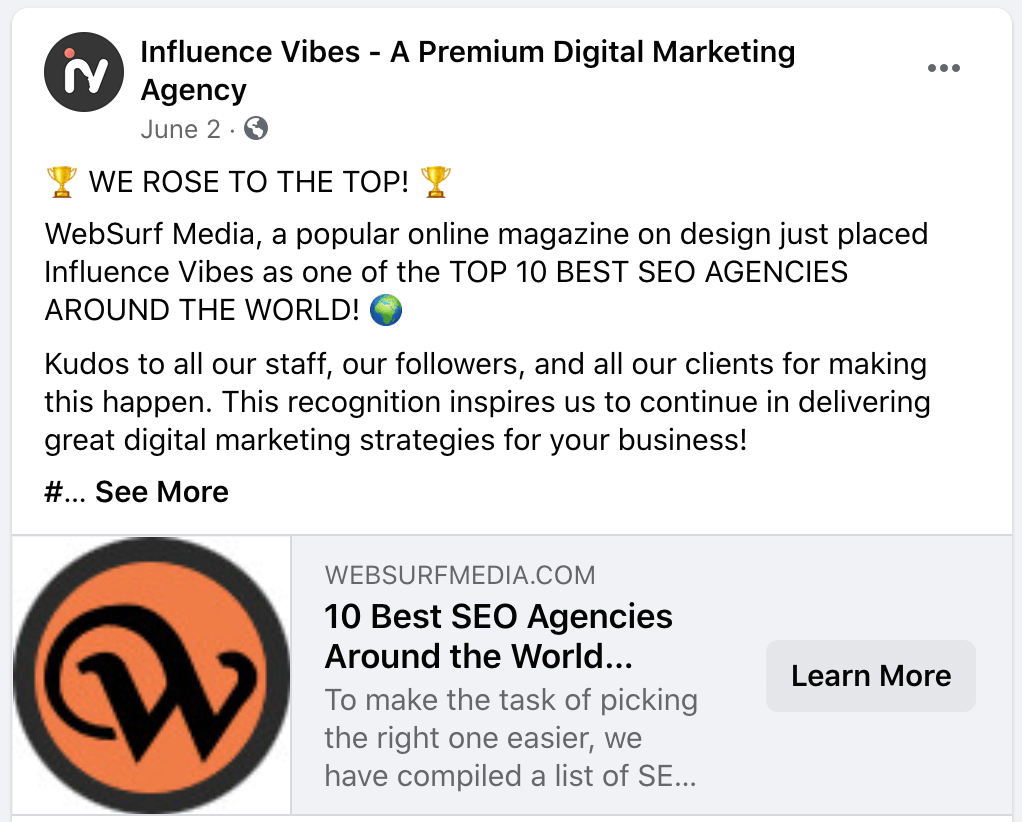 influence vibes top world SEO agencies