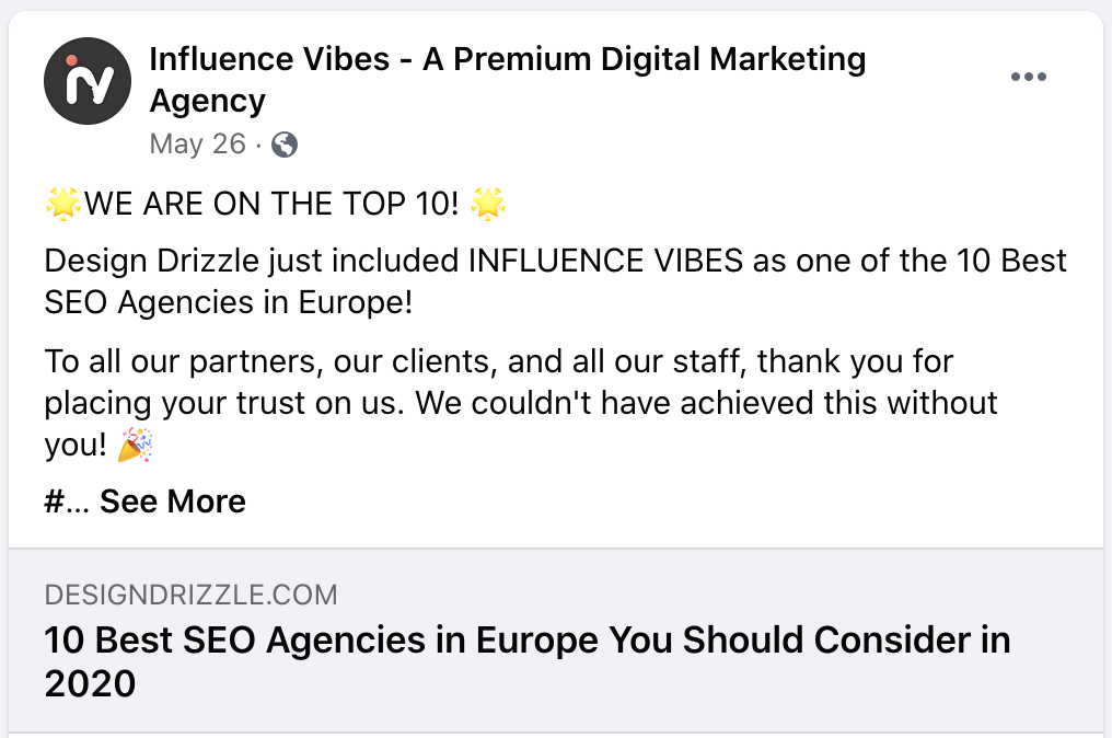 influence vibes top EU SEO agencies