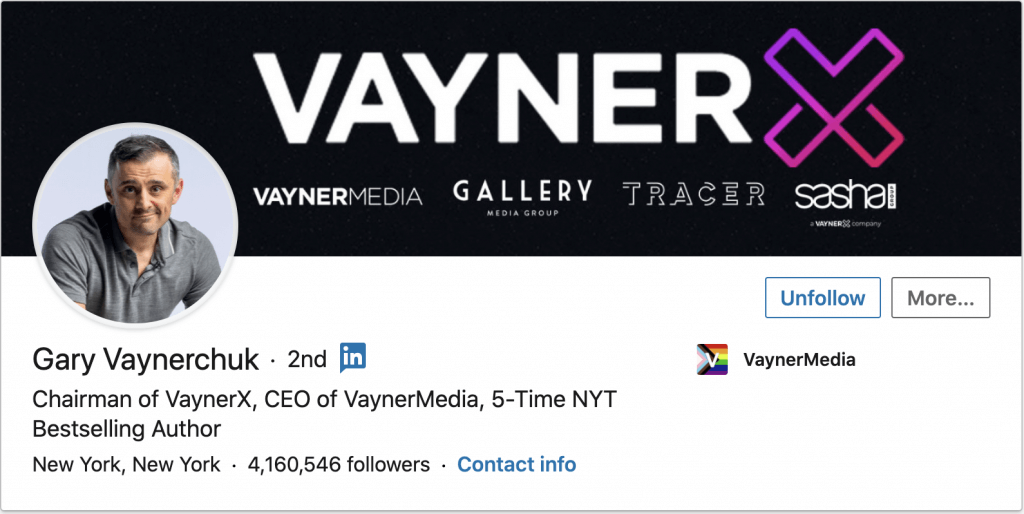 Gary Vaynerchuk linked in profile