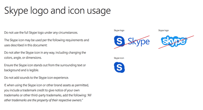skype logo and icon usage